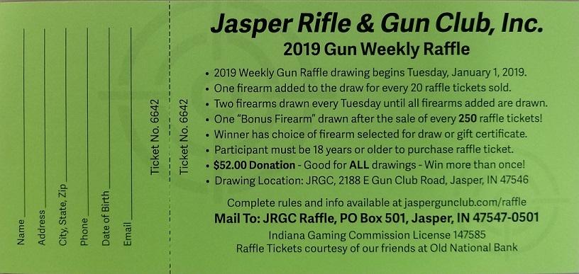 2019 Weekly Gun Raffle | Jasper Rifle & Gun Club